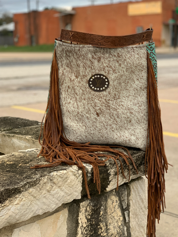 Tooled Cowhide Rosie Bag