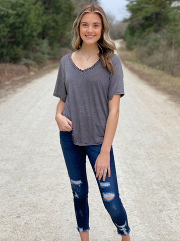 Taylor Striped V-Neck Tee- All Colors