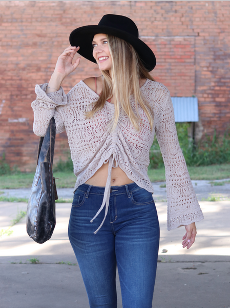 Breezy Bell Sweater -Taupe