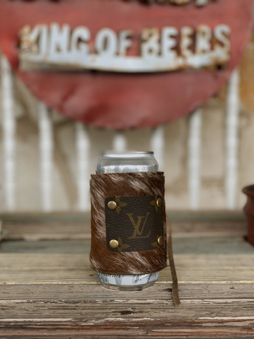 LV Koozie- Brown Cowhide