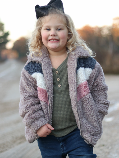 Kid's Colorblock Fur Jacket