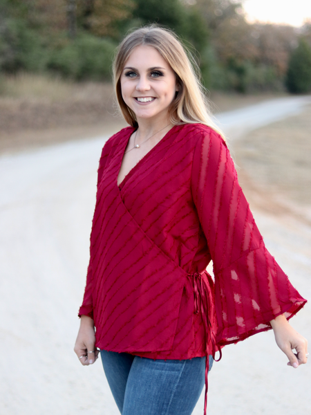 Glitzy Bell Sleeve Top-Red