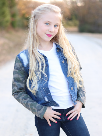 Distressed Kid's Camo Denim Jacket