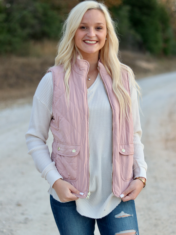 Reversible Sherpa Vest- Blush