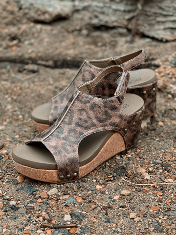 Carley Wedges- Distressed Leopard