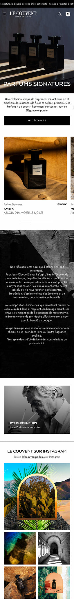 Le Couvent - Homepage Mobile