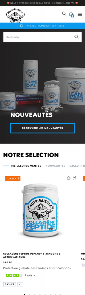 Nutrimuscle - Homepage Mobile
