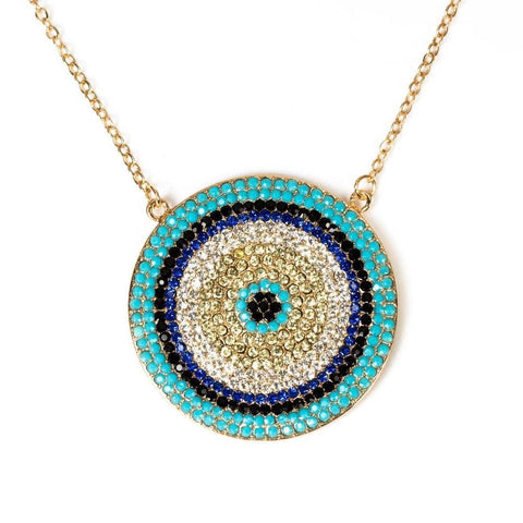 Image of Round Evil Eye Pendant Necklace Colorful Copper CZ Charms Necklace - Malojo | Evil Eye Store