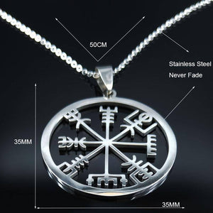 Classic Viking Vegvisir Compass Chain Necklace Stainless Steel Nordic Runes Odin - Malojo | Evil Eye Store