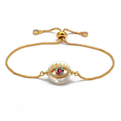 Lucky Eye Colorful Zircon Evil Eye Bracelet Gold Color Adjustable - Malojo | Evil Eye Store