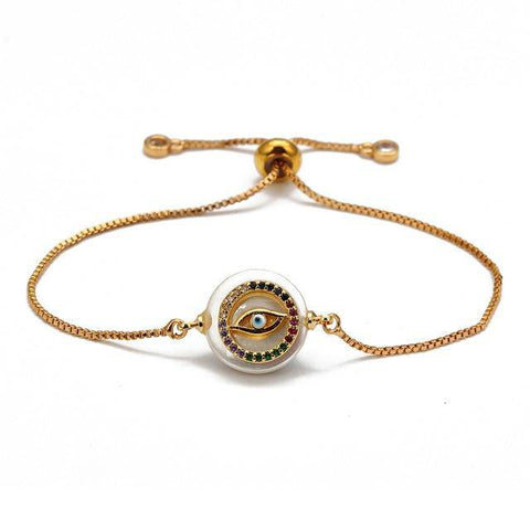 Image of Lucky Eye Colorful Zircon Evil Eye Bracelet Gold Color Adjustable - Malojo | Evil Eye Store