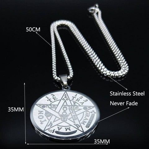 THE TETRAGRAMMATON PENTAGRAM Stainless Steel Necklace - Malojo | Evil Eye Store
