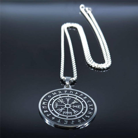 Viking Compass Men Necklace Stainless Steel Nordic Runes - Malojo | Evil Eye Store