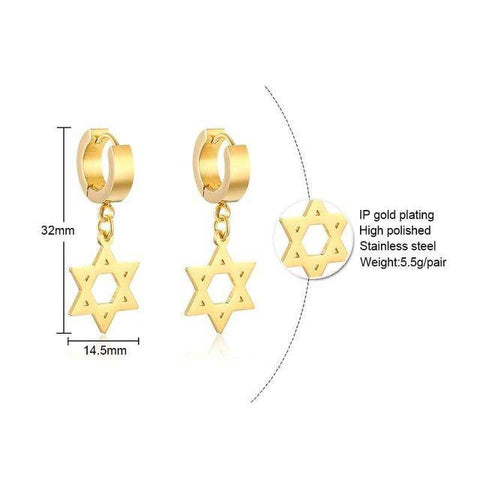 Image of MINI CROSS DROP CIRCLE EARRING STAINLESS STEEL - Malojo | Evil Eye Store