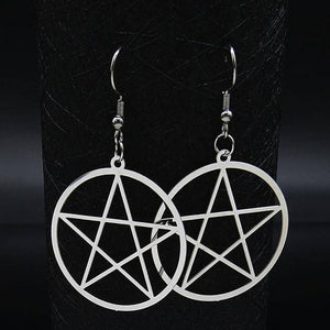 Witchcraft Pentagram Stainless Steel Drop Earrings Women Silver Color Earrings - Malojo | Evil Eye Store