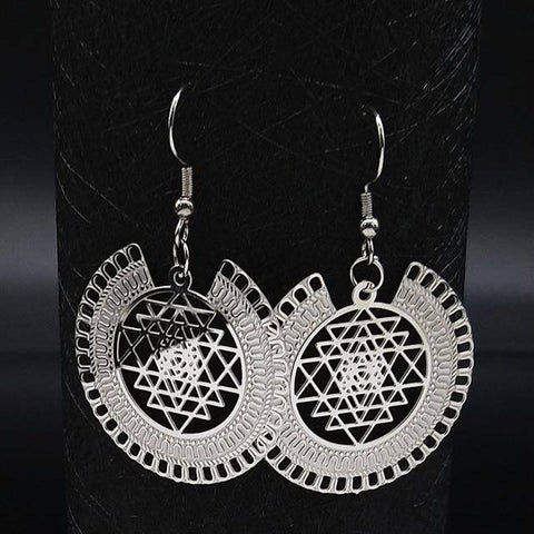 Image of Witchcraft Pentagram Stainless Steel Drop Earrings Women Silver Color Earrings - Malojo | Evil Eye Store