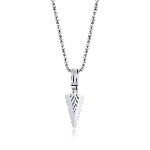 Image of ARROWHEAD KUNAI PRIMAL NECKLACE FOR MEN SPEARHEAD STAINLESS STEEL - Malojo | Evil Eye Store