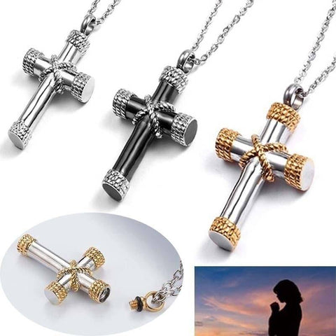 Image of Stainless Steel Funeral Cremation Cross Pendant Urn Necklace for Ashes - Malojo | Evil Eye Store