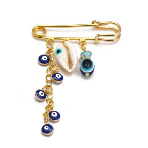 Evil Eye Brooch Pin Gold Color - Malojo | Evil Eye Store