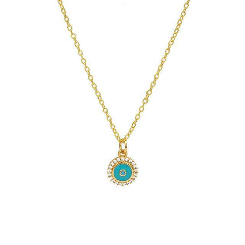 Blue Evil Eye Pendant Necklace Copper Gold Color Long Neck Chain - Malojo | Evil Eye Store