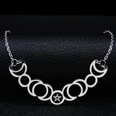 Sun Moon Pentagram Stainless Steel Silver Color Necklaces - Malojo | Evil Eye Store