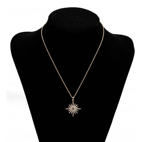 Image of Micro Pave Star Evil Eye Pendant Necklace Copper Gold Color - Malojo | Evil Eye Store