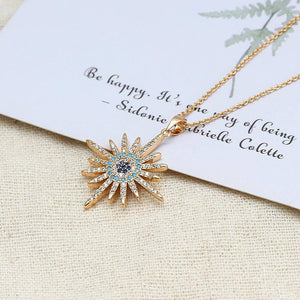 Micro Pave Star Evil Eye Pendant Necklace Copper Gold Color - Malojo | Evil Eye Store