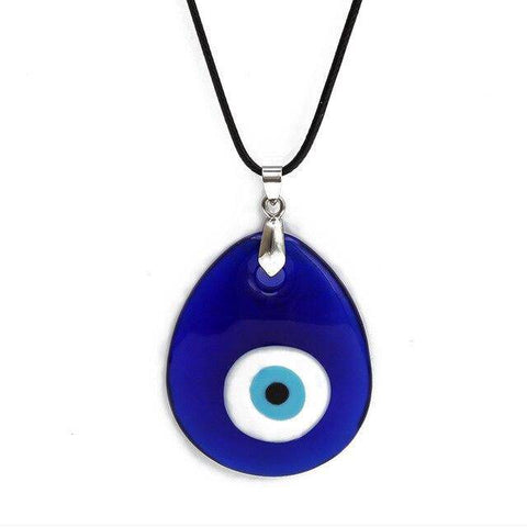 Water Drop Round Blue Evil Pendant Necklace Leather Long Chain - Malojo | Evil Eye Store