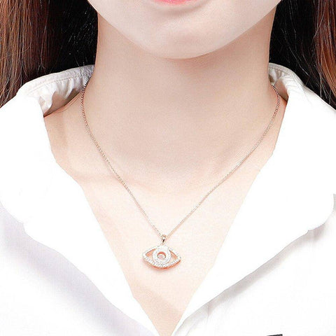 Pendant Necklace Rose Gold Silver Color Long Chain Necklace - Malojo | Evil Eye Store