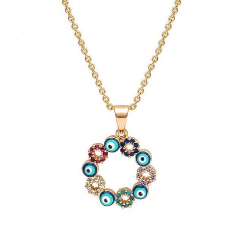 Blue Turkish Evil Eye Necklace Gold Color Copper Round Pendant Necklace - Malojo | Evil Eye Store