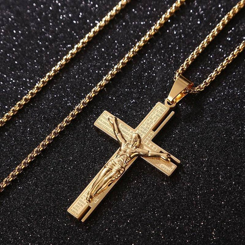 Christian Jesus Men Necklace Gold Cross with Chain - Malojo | Evil Eye Store