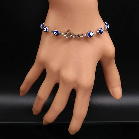 Love Evil Eye Stainless Steel Charms Bracelet - Malojo | Evil Eye Store