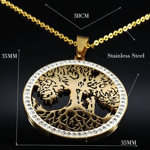 Tree of Life Crystal Stainless Steel Chain Necklaces - Malojo | Evil Eye Store