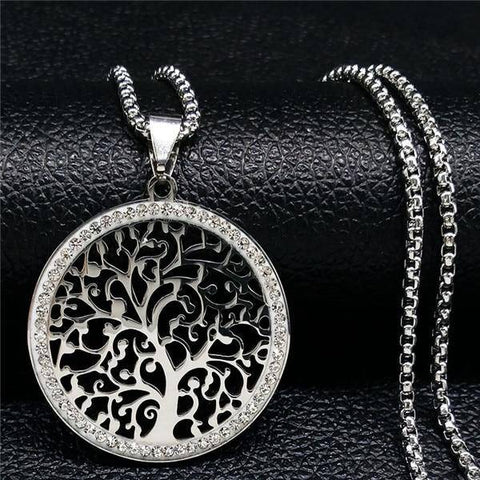 Tree of Life Stainless Steel Necklace Crystal Silver - Malojo | Evil Eye Store