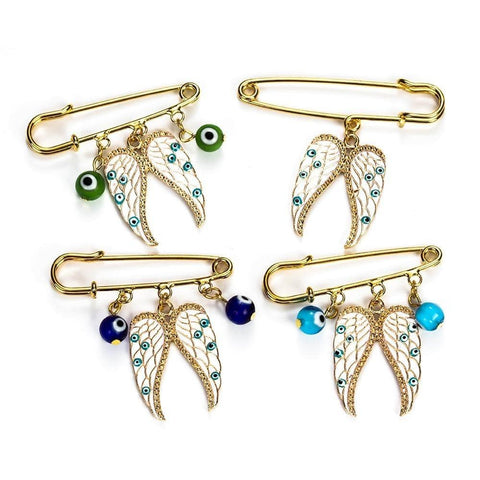 Angel Wings Charms Brooch - Malojo | Evil Eye Store