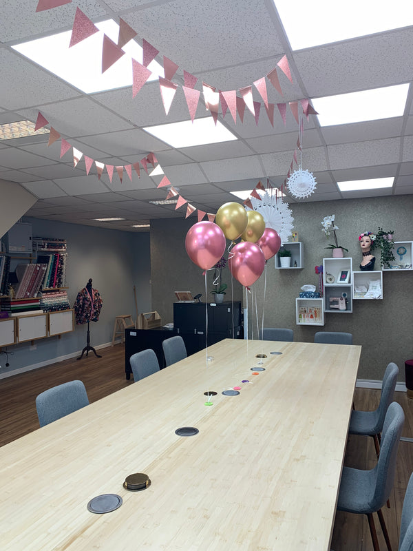 Children's Party at The Make Spot - Birthday layout with balloons and bunting