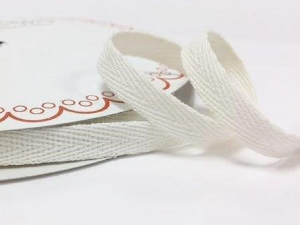 10mm White Cotton Herringbone Tape