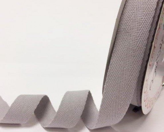 25mm Silver Grey Cotton Herringbone Tape
