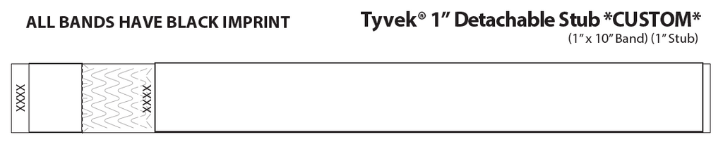 "1"" TYVEK WRISTBAND WITH DETACHABLE STUB"