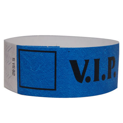 blue vip tyvek wristband with black font
