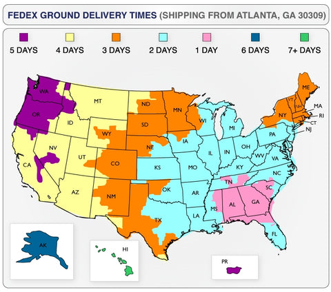 FedEx Ground Shipping Times Map