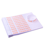 sheet of orange and white age verified tyvek wristbands
