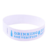 white and light blue drinking age verified tyvek wristband