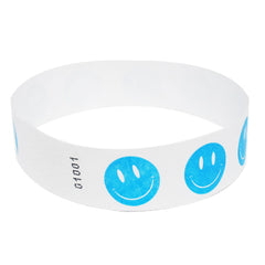 Blue Happy Face Tyvek Wristbands