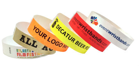 variety of customizable font and color options for custom tyvek wristbands