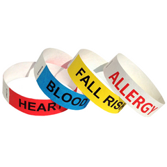 variety of medical id wristbands for heart, blood, fall risk, and allergy