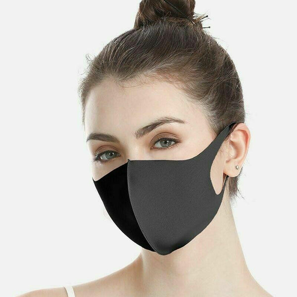 Black Face Mask Washable Reusable Unisex Adult - 2, 5, or 10 Pack