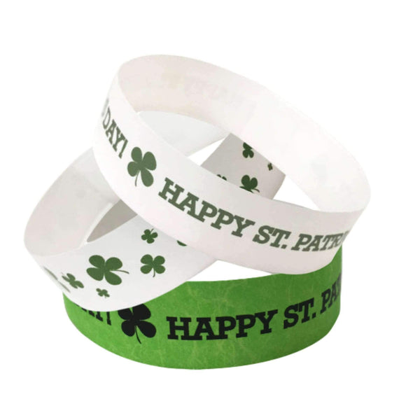 "Event Wristbands Tyvek Stock - Holiday 3/4"" Tyvek Wristbands Pre-Printed St. Patrick's Day"