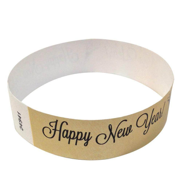 "Event Wristbands Tyvek Stock - Holiday Happy New Years / Gold / 100 3/4"" Tyvek Wristbands Pre-Printed New Year's Eve Designs"