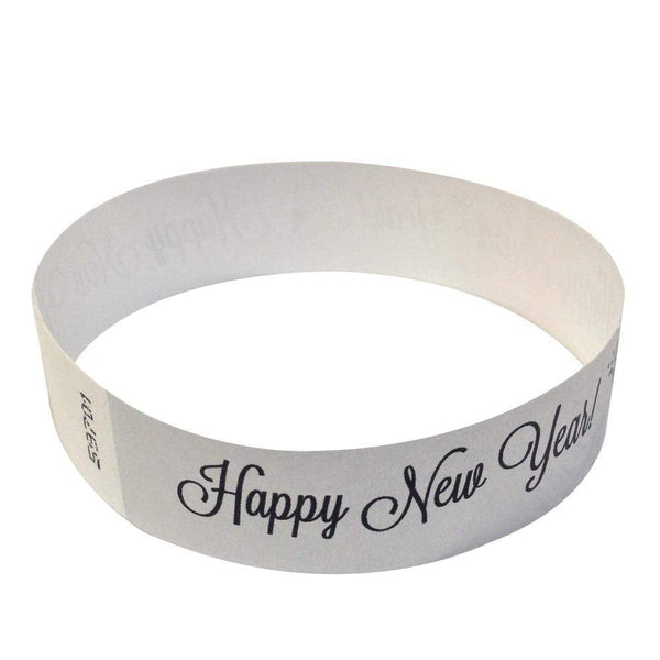 "Event Wristbands Tyvek Stock - Holiday Happy New Years / Silver / 100 3/4"" Tyvek Wristbands Pre-Printed New Year's Eve Designs"
